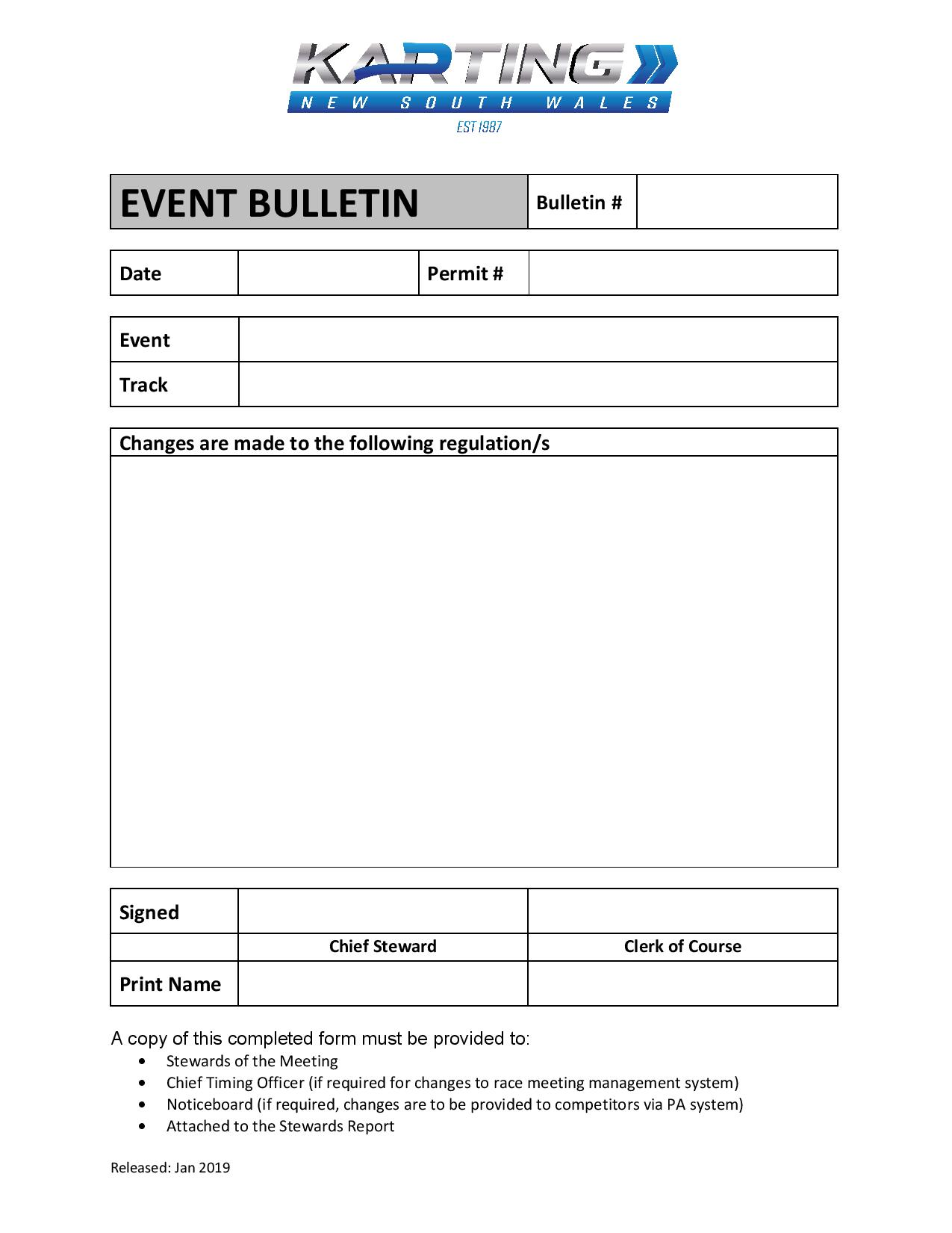 Event Bulletin Form