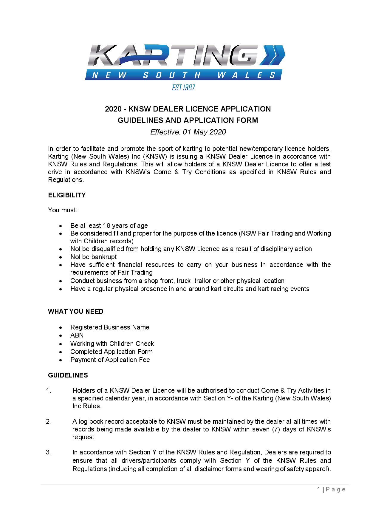 KNSW Accredited Dealer Guidelines & Application Form