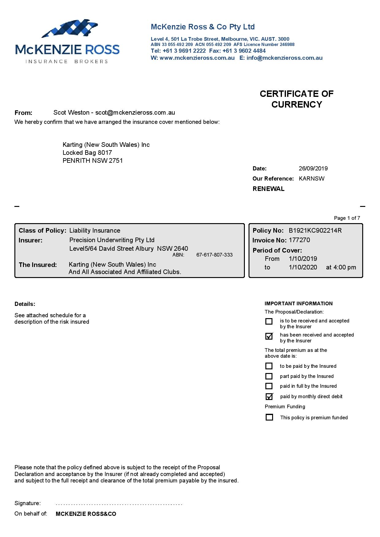 Liability Full Certificate of Currency